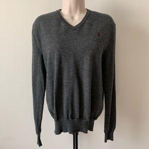 Polo Ralph Lauren Grey Pullover Sweater Vneck 84
